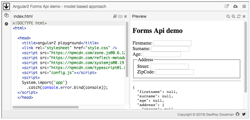 Angular2 Forms Api demo - model based approach