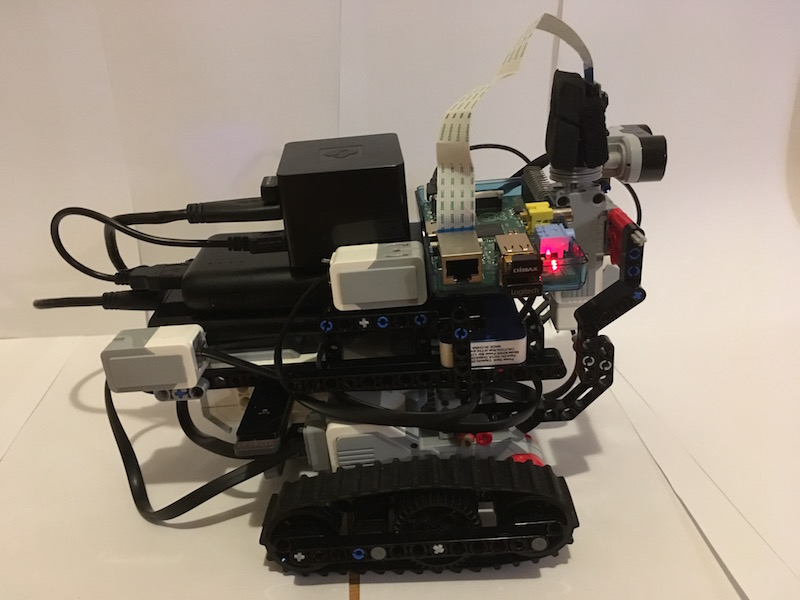 Robo4j testing system : camera unit, ultra-sonic, gyro, color and touch sensors. Whole system contains also one  Raspberry Pi, Lego Brick and CuBox i4Pro (4-core CPU) with 500GB hard-drive as re-usable data-storage. Whole system is powered by 2x2500mAh and one 25000mAh unit.