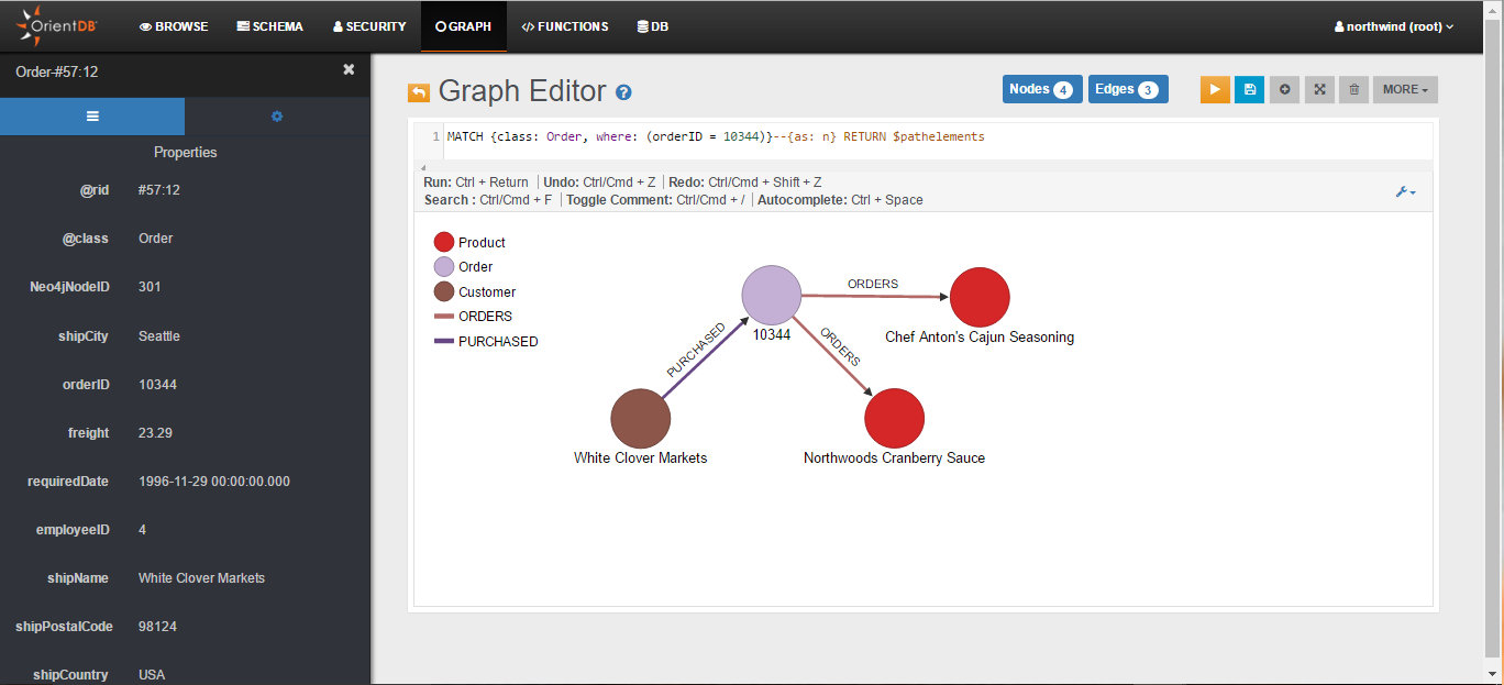 Studio: Graph Editor (MATCH query on the northwind database)