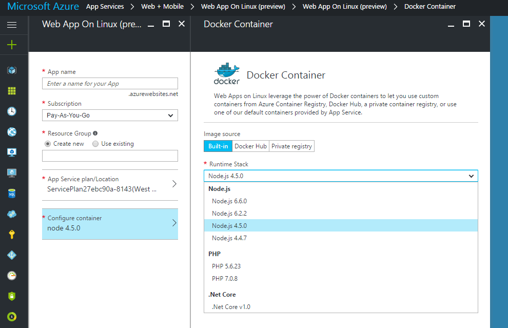 Built-in Docker Containers