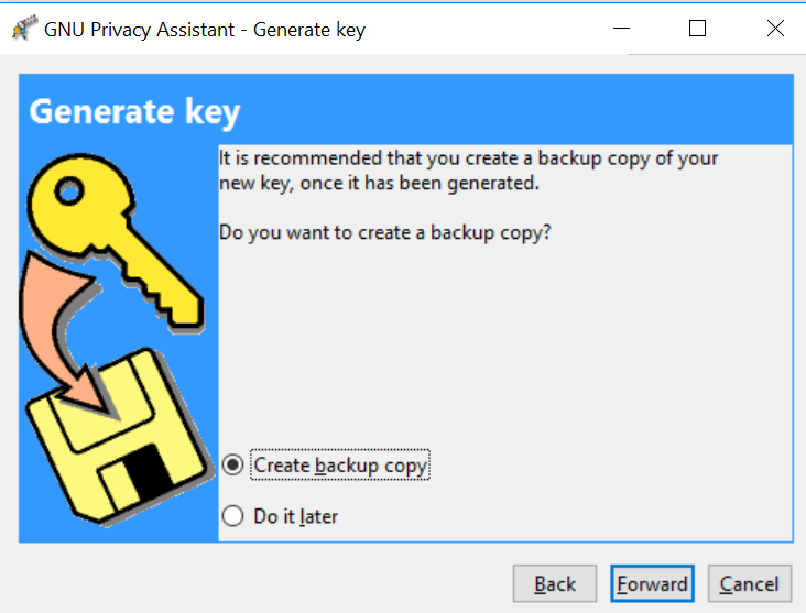 Create key backup copy