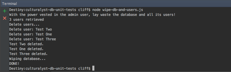 Firebase Database and User Nuke Script Output