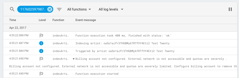 Firebase Cloud Function Log