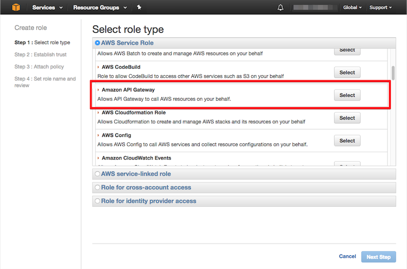 selecting amazon api gateway role