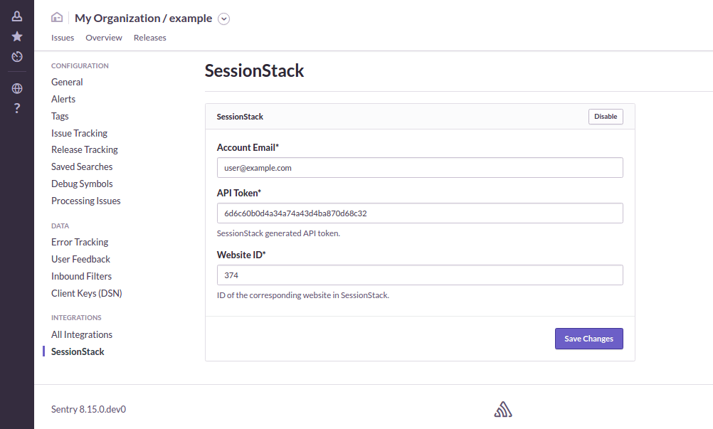 Configuring the SessionStack plugin within Sentry