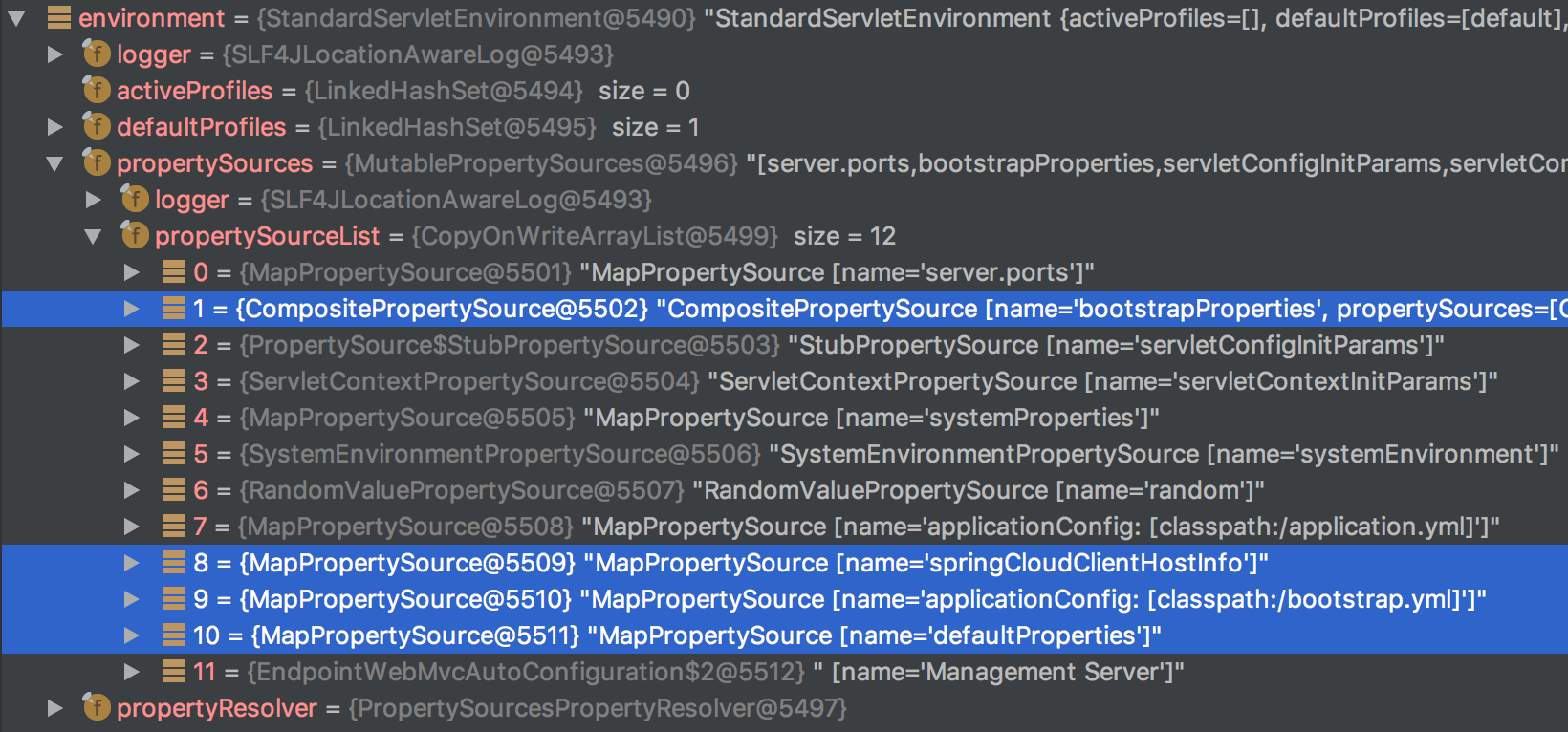 Environment Snapshot for a Spring Cloud Config Application