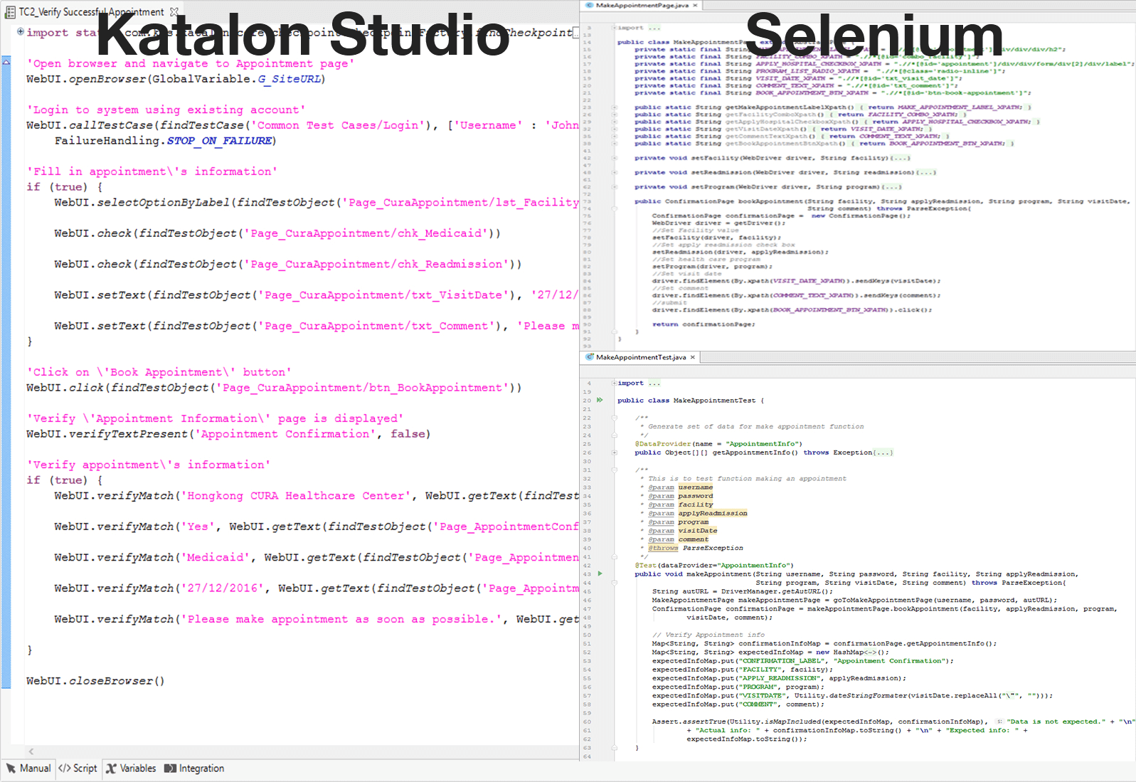 Katalon Studio compared to Selenium