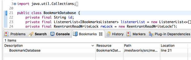 Built-in eclipse bookmarks