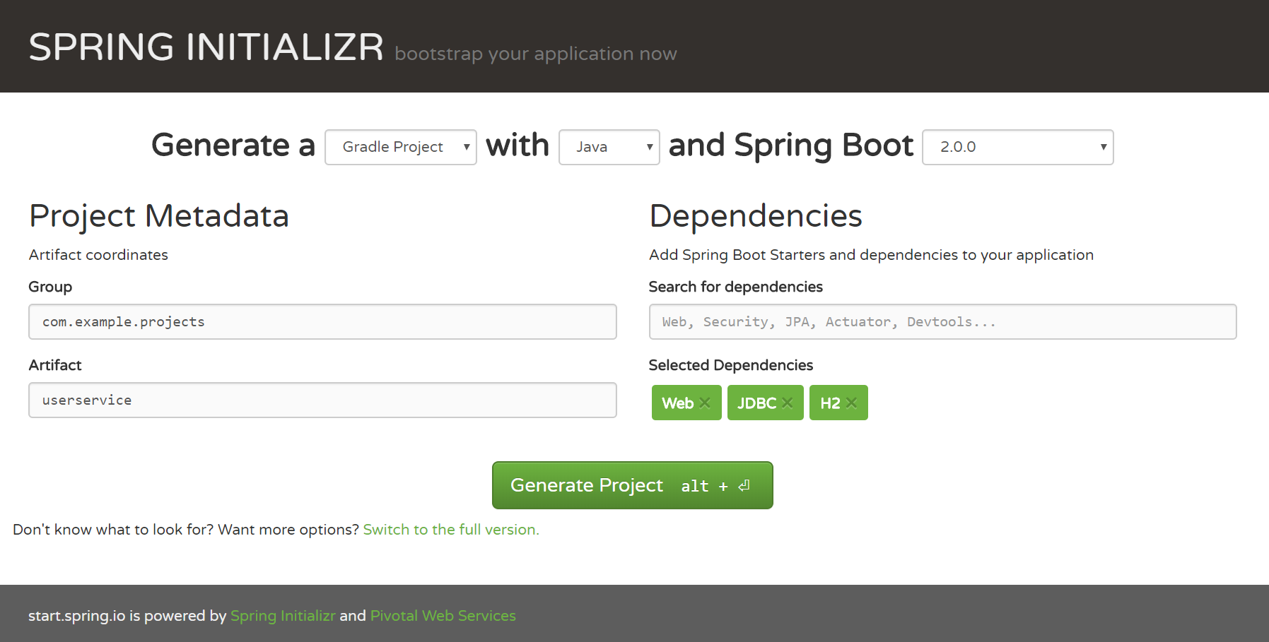 gradle project from Spring Initializer