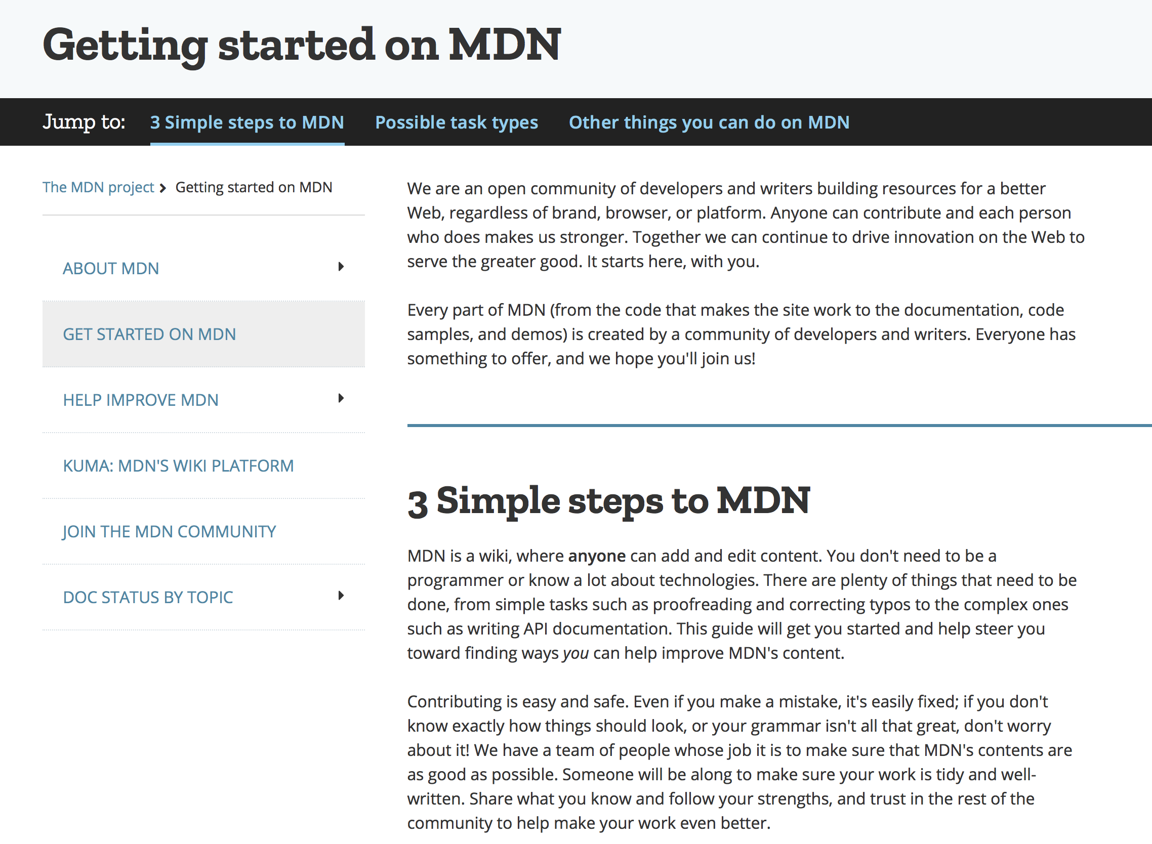 getting started on MDN
