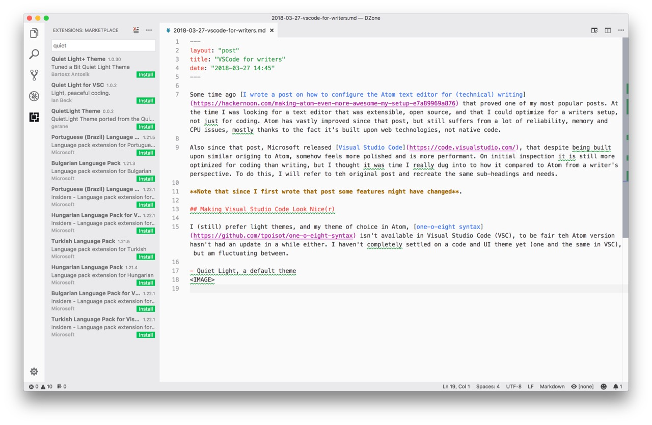 Customizing Visual Studio Code for Writing - DZone Integration