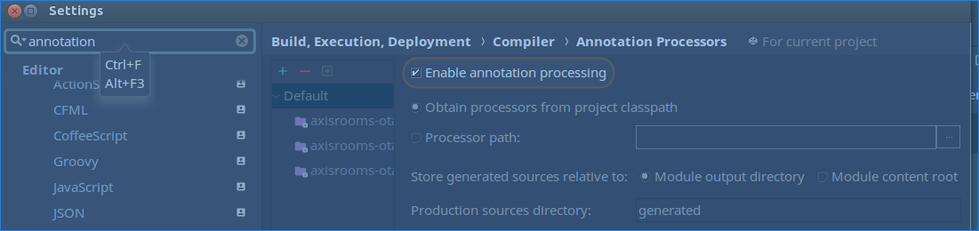Enable annotation processing