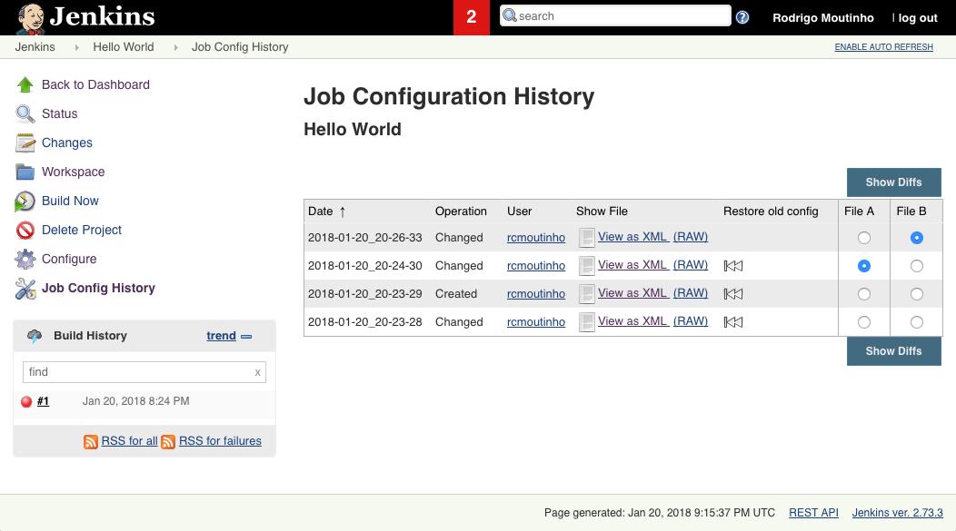 Job Config History - Job