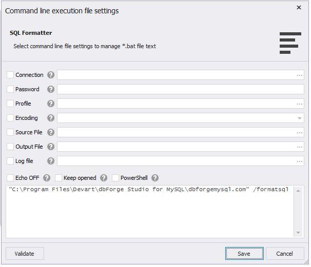 Command Line Execution File Settings