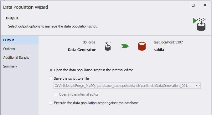 Data Generator Output Options