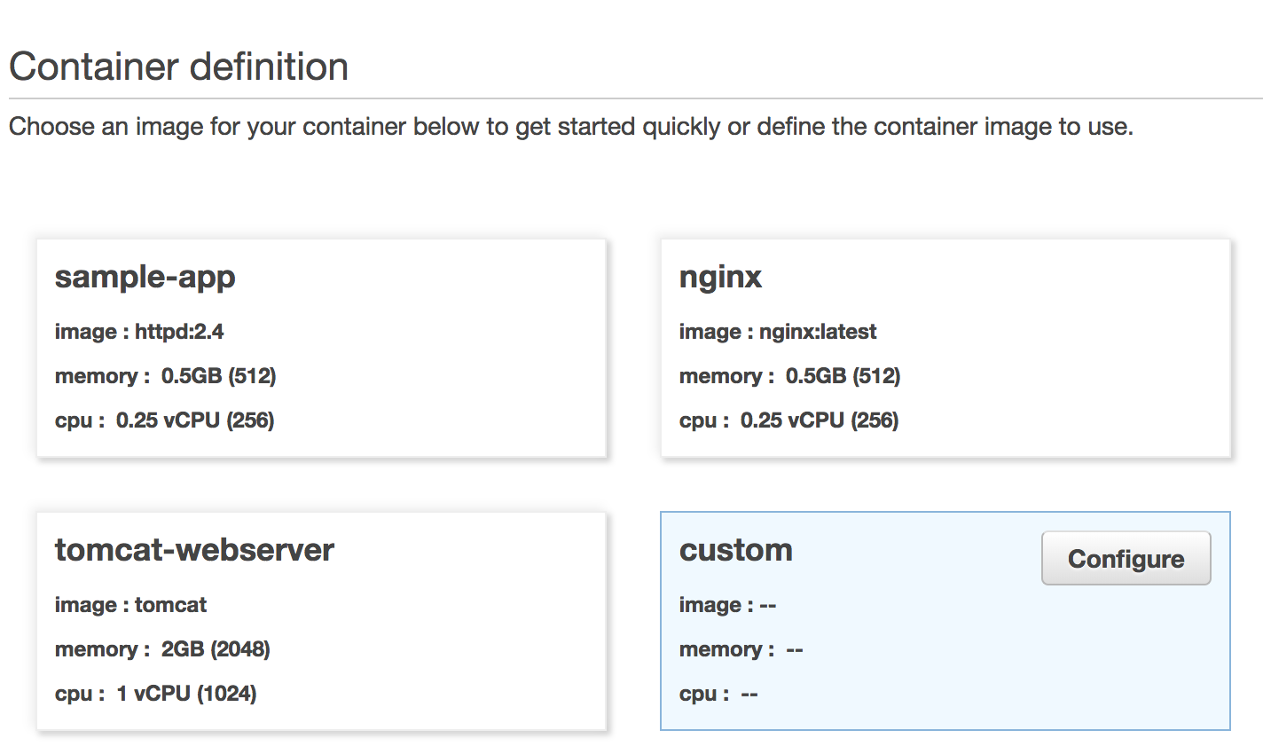 Default Container Definitions