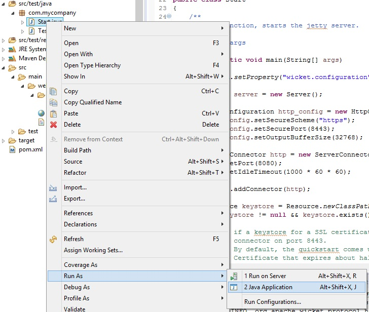 Run the application in Eclipse