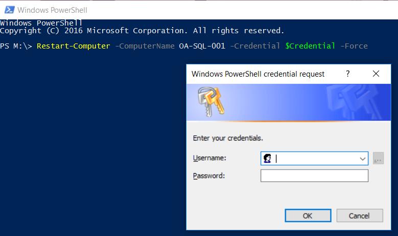 Image titlePowerShell Restart-Computer with Login Popup Window