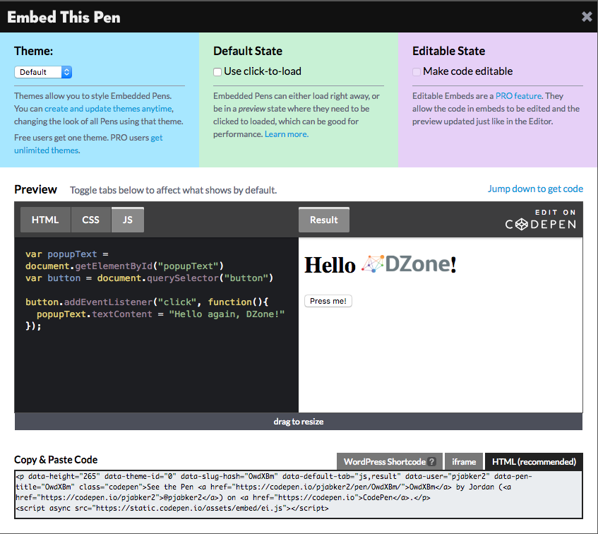 How to Use CodePen With the DZone Editor - DZone Writers'